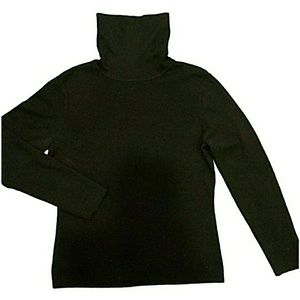 Black Merino Wool/Cashmere Blend Sweater